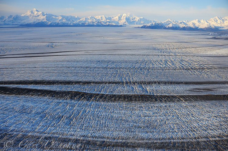 Malaspina Glacier, showing medial moraines, St. Elias Mountains, Wrangell - St. Elias National Park and Preserve, Alaska.