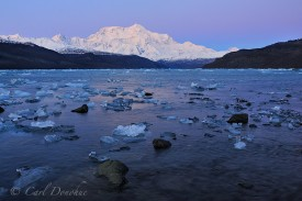 Icy Bay icebergs and Mt. St. Elias, Wrangell - St. Elias National Park and Preserve, Alaska.