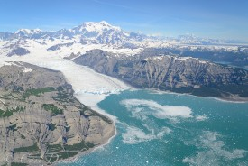 Yahtse Glacier, Icy Bay, Mt. St. Elias, Wrangell - St. Elias National Park and Preserve, Alaska. Aerial Photo.