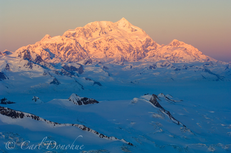 Mount Saint Elias at last light, aerial photo, Wrangell - St. Elias National Park and Preserve, Alaska.