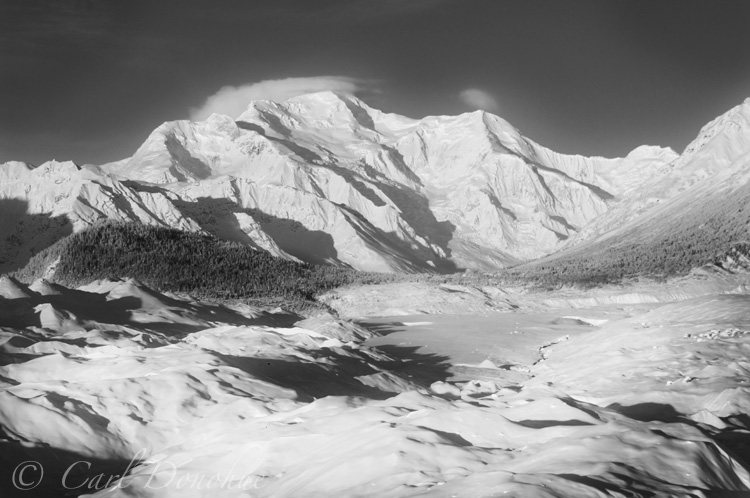 Mount Blackburn, across the Root Glacier and Donoho Basin, winter time, Wrangell - St. Elias National Park, Alaska.
