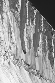 Black and white rendition of the a ridge in the St. Elias Mountains