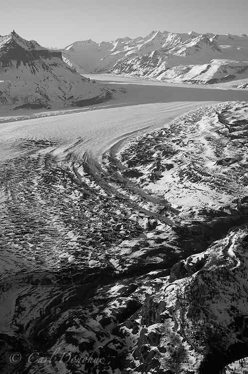 Nizina Glacier and Wrangell Mountains, black and white photo, winter, Wrangell - St. Elias National Park and Preserve, aerial photo, Alaska.