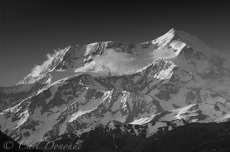 Black and white photo of Mt. St. Elias, from Icy bay, Wrangell - St. Elias National Park, Alaska.