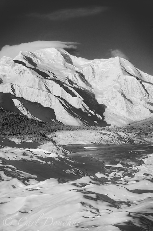 Mt. Blackburn, across the Root Glacier and Donoho Basin, winter time, Wrangell - St. Elias National Park, Alaska.