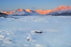 Stairway Icefall, Donoho Peak and the Wrangell Mountains, viewed over the Kennicott Glacier, winter, sunset, alpenglow, Wrangell - St. Elias National Park, Alaska.
