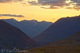 Sunset over the Chugach mountains, near Bremner Mines, Wrangell St. Elias National Park, Alaska.