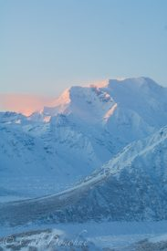 Mt. Blackburn, the Root and Kennicott Glacier, wintertime, sunset, Wrangell - St. Elias National Park, Alaska.
