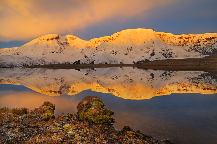 On the east side of the Wrangells we can catch some nice sunrise light. here Mt. Jarvis lights up nicely. Wrangell - St. Elias National Park, Alaska.