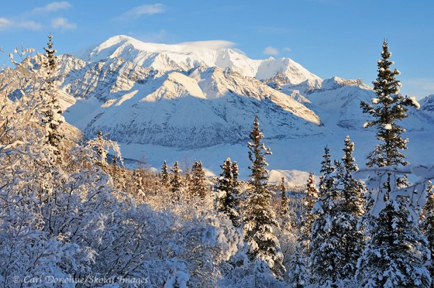Mt. Blackburn. Winter. Wrangell - St. Elias National Park and Preserve, Wrangell Mountains and the Kuskulana River, Mount Blackburn, near Nugget Creek mine. Winter, Alaska.