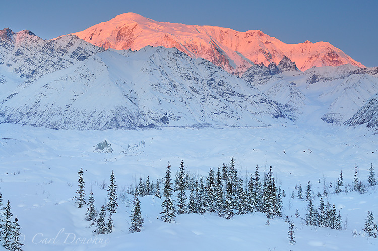 Winter and Mt Blackburn, in Wrangell - St. Elias National Park and Preserve, Alaska.