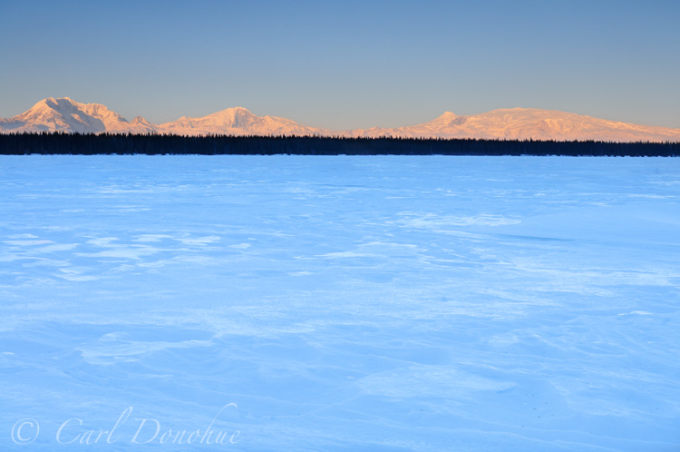 Willow Lake and Wrangell Mountains, wintertime, Wrangell - St. Elias National Park, Alaska.