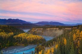 Sunrise over Kuskulana River and the Kuskulana Gorge, fall colors, Wrangell - St. Elias National Park and Preserve, Alaska.